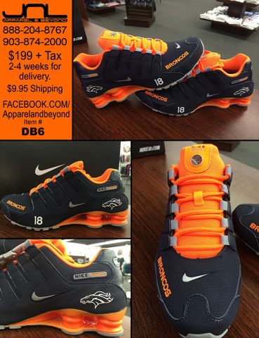 CUSTOM DENVER BRONCOS PEYTON MANNING NIKE SHOX TEAM COLORS Item #DB6 for $199+tax Takes 2-4 weeks for delivery. Call 903-874-2000 or 888-204-8767 Order at www.yourcustomkicks.com