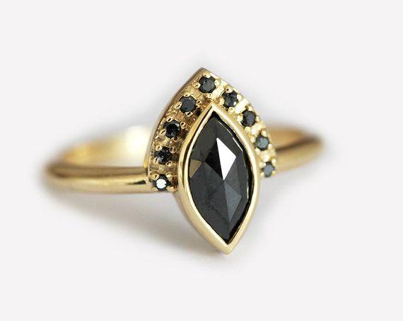 Black Diamond Engagement Ring Marquise Diamond Ring by MinimalVS