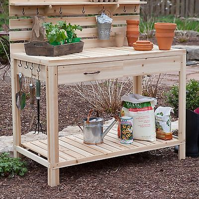 Cedar Wood Potting Bench With Sink Gardening Planting Table Storage Storage Table Storage And
