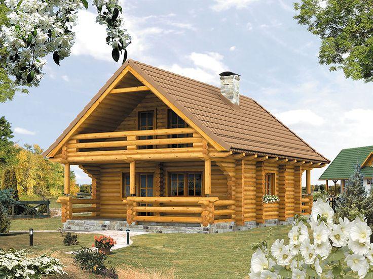 Gwarek bal to nieduży dom letniskowy (64 m2) z użytkowym poddaszem. Dom posiada ciekawą bryłę z wkomponowanymi dwoma zadaszonymi tarasami oraz balkonami. Pełna prezentacja projektu na stronie: http://www.domywstylu.pl/projekt-domu-gwarek_bal.php. #gwarek #domyzbala #domywstylu #mtmstyl #domyrekreacyjne #projektygotowe