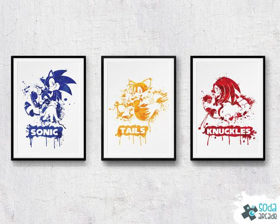 Sonic The Hedgehog Tails And Knuckles Prints By Sodaarcade