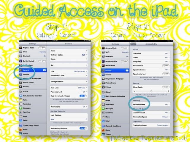 iPad Tip - How to turn on Guided Access for your students or children.