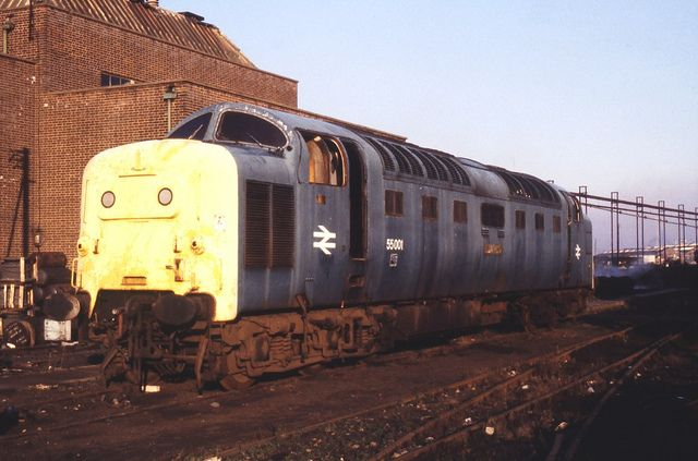 55001 St PADDY waiting scrapping at Doncaster Works on 20th January 1980. Built at Vulcan Foundry (Works No E2906/D558) and delivered as D9001 in February 1961 she was named in July of the same year, renumbered 55001 in February 1974 she (with 55020) was one of the first two Deltics to be withdrawn in January 1980. (Keith Long)