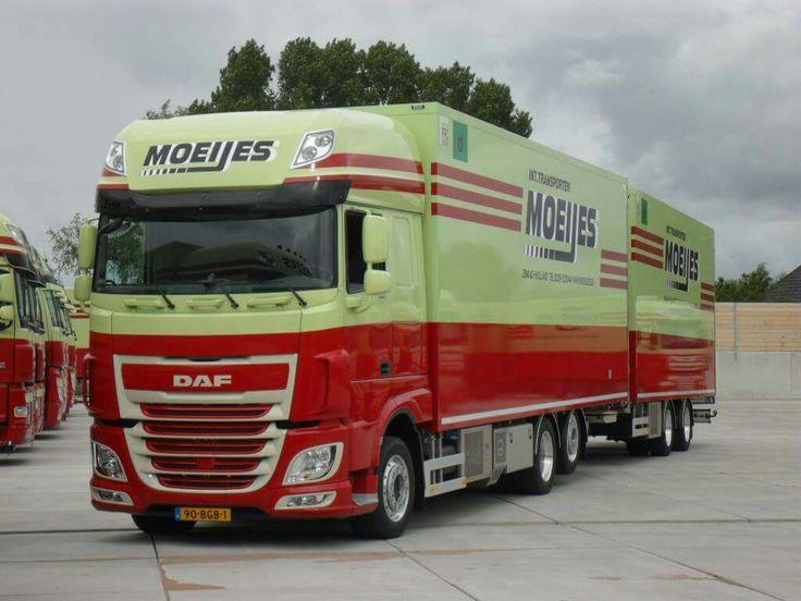 DAF FAS 105 euro 6 6x2 superspacecab met koelwipkar van Moeijes in Zwaag