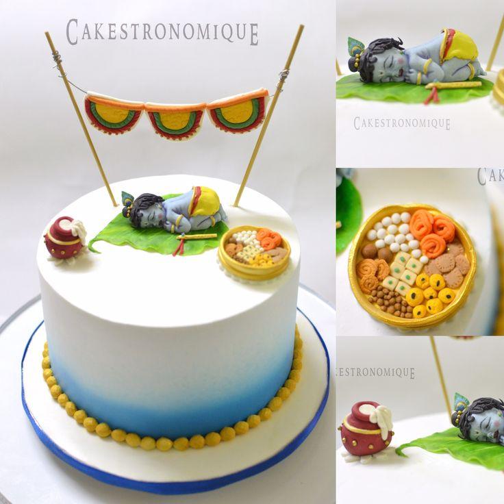 Sree krishna Jayanthi themed whipped cream frosted cake