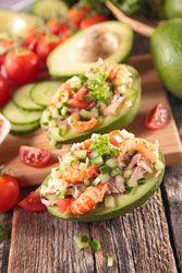 Avocat crudit�s thon crevettes