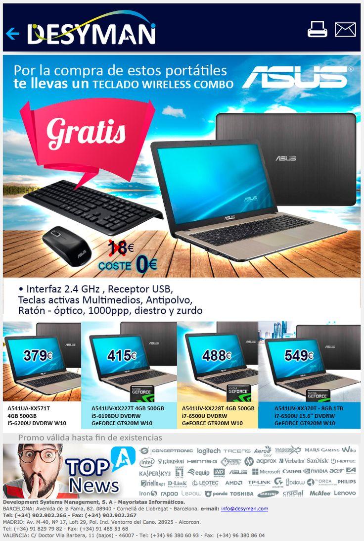 Portátiles con REGALO ASUS teclado combo Wireless http://www.mayoristasinformatica.es/boletin/2017/fabricantes/desyman06/portatilesREGALS.html