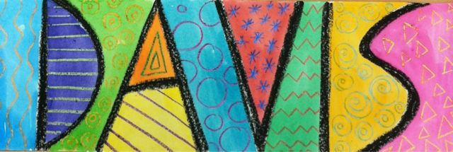 using children's names to create artwork. non-objective art focuses on line and negative space!