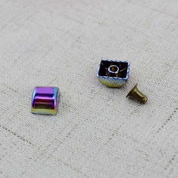 10-30-100pcs 10*8mm Rainbow Color Metal Press Studs Snap