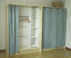 dressing low cost + panneaux de pins + rideaux en lin