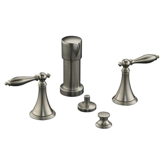 Kohler K-316-4M-BN Vibrant Brushed Finial Traditional Bidet Faucet With Lever Handles