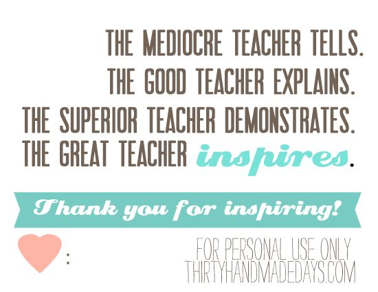 Teacher Appreciation printable card.     I really really LOVE this printable!! Especially for those very special teachers. Wish I would've found this before last weeks Teacher Appreciation Week. Thanks Mique, from 30daysblog.