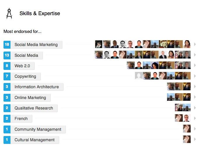 top 5 most endorsed #skills :  #SocialMediaMarketing ,  #SocialMedia ,  #Web2.0 , #Copywriting , #InformationArchitecture