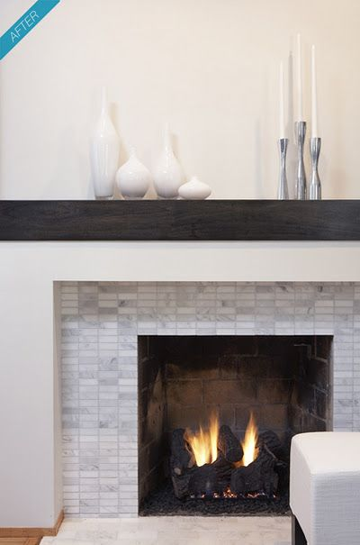rectangular marble tile, bringing together gray and white, rustic and simple mantel