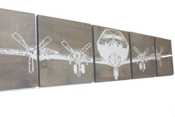 """Military Aviation Art 12""""X 60"""" Vintage WW2 Plane AIRPLANE Extra large Wall Art/ Screen Print / Wood Painting / Gift for Him / Her"""