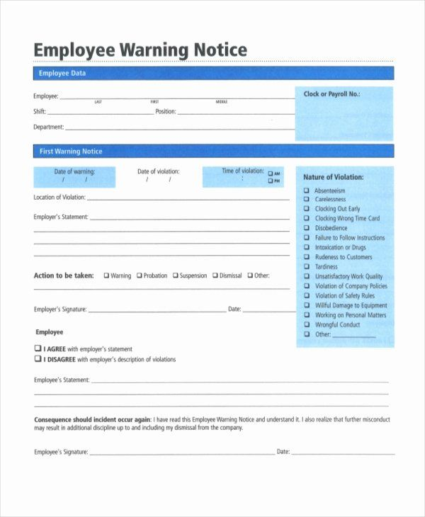 Employee Warning Notice Template Word Elegant 12 Printable