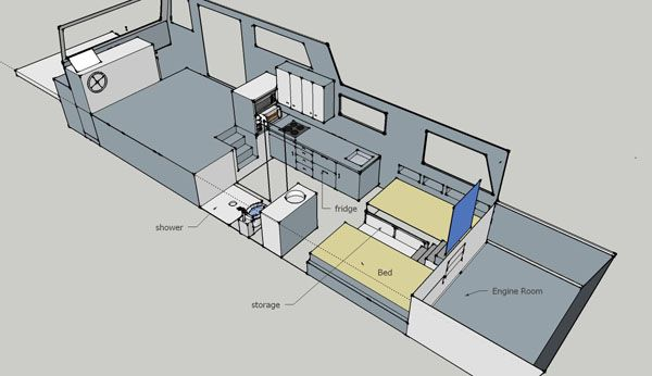Free house boat plans living on a houseboat floating for Boat house floor plans