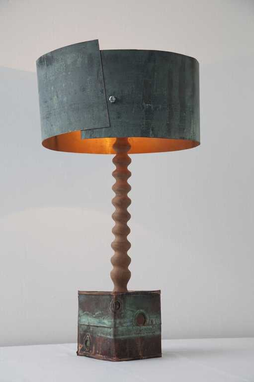 table lamp made from recycled copper + wood