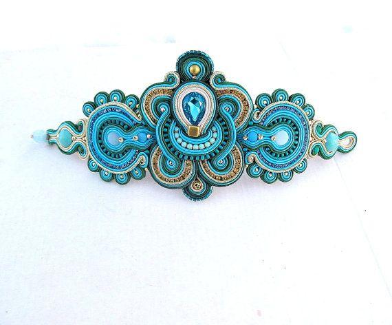 Turquoise Cuff Bracelet - Unique Emerald Statement Soutache Bracelet , Handmade…