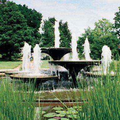 Bronze Fountain at University Botanic Garden, Cambridge. David Mellor 1968.