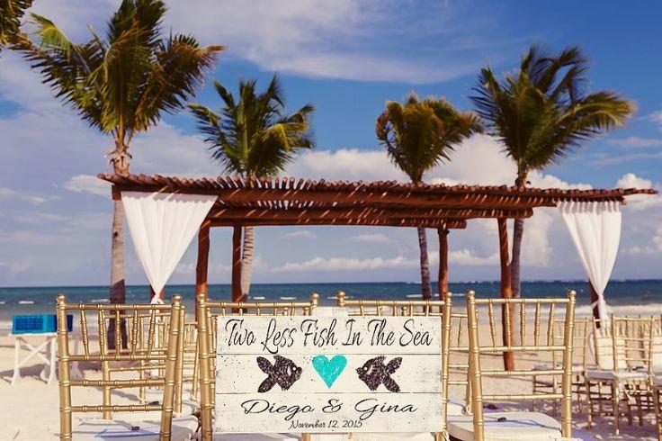 Cancun Destination Wedding at Secrets Maroma Beach, MX  Cute beach wedding sign!   Quetzal Wedding Photo