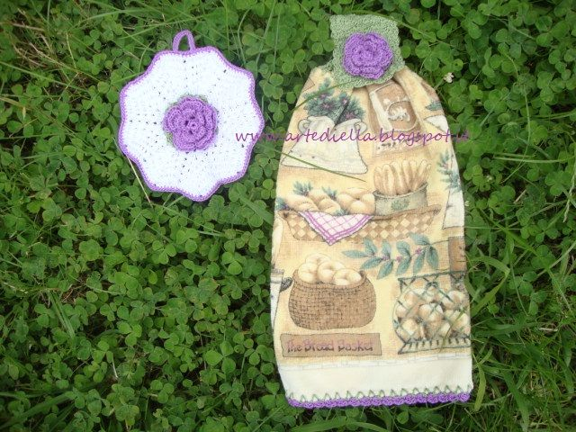 Le Fragole di Stoffa: spiegazione fiore all'uncinetto 5 petali per presina e asciughino