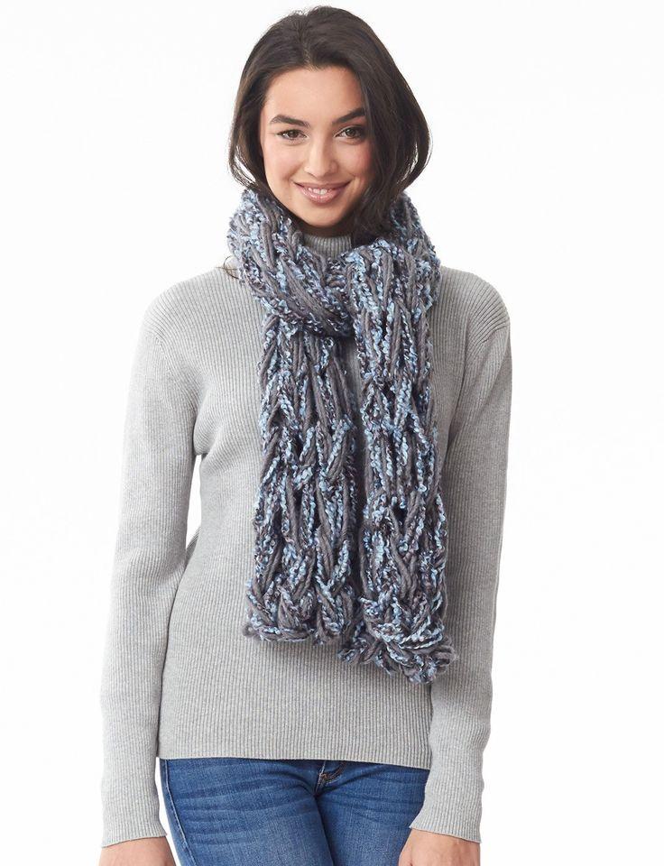 Infinity Scarf Knitting Pattern Bernat : Yarnspirations.com - Bernat Arm Knit Swift Scarf ...