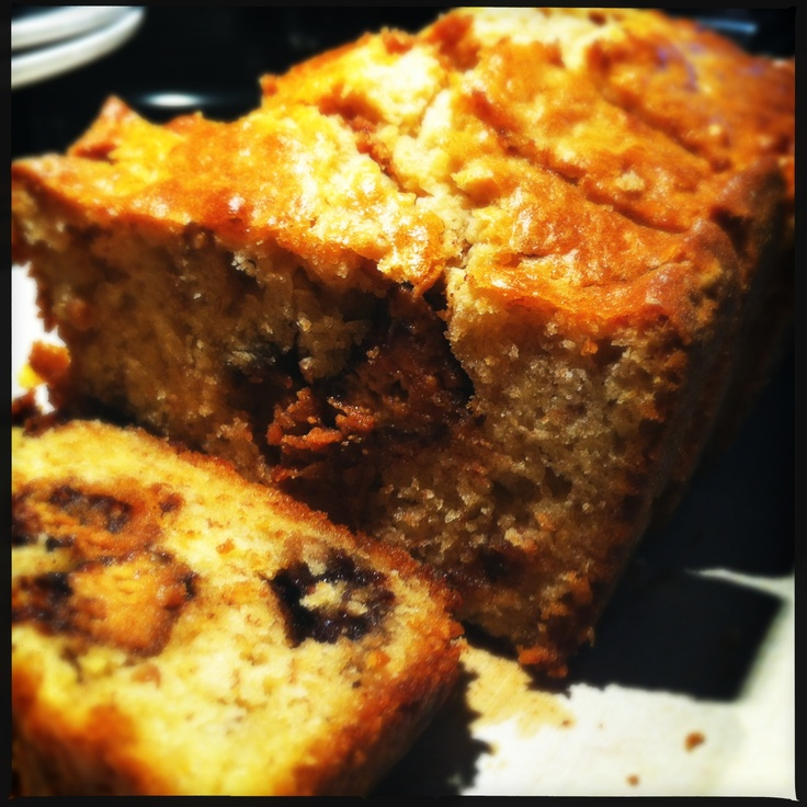 Banana Bread with peanut butter and Reeces Cups. O, M and indeed G.Peanut Butter