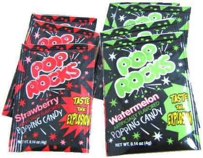 Pop rocks. Because they are old school treats and would be fun to mix & match with other desserts. A bite of cupake on one side of the mouth + a few pop rocks. MMmmmm!90 S, Blast, Childhood Memories, Pop Rocks, Food, Candies, Nostalgia, 90S, Bday Parties