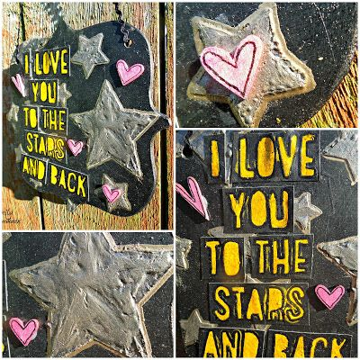 Love you to the Stars and Back Close Up - Using CI Paints   Creative Inspirations Paint, home decor, wall hanging, mixed media, stars, love, Genuinely Jane Studios, wood album,