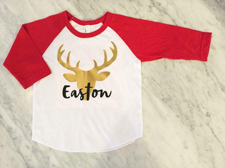kids christmas shirt, reindeer shirt, gold deer shirt, boys christmas shirt, boys holiday shirt, gold reindeer head, gold stag shirt by myeverydaydesign on Etsy https://www.etsy.com/listing/254343550/kids-christmas-shirt-reindeer-shirt-gold