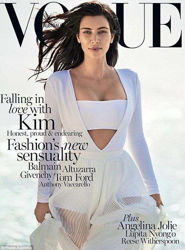 'My February cover with Australian Vogue': Kim Kardashian excitedly tweeted her smouldering first solo Vogue cover