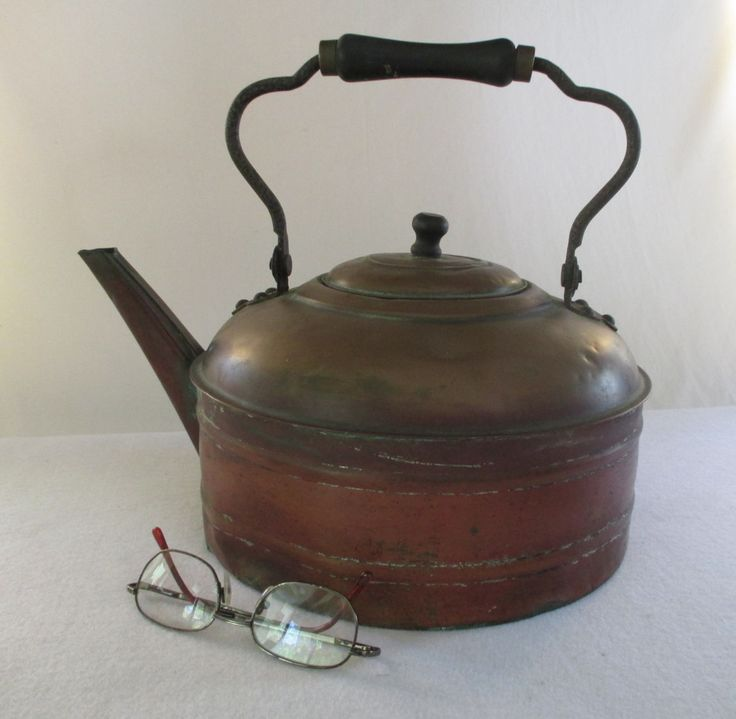 Tea Kettle, Vintage Large Copper Clad, Shabby Cottage Garden Patio Deck Decor Yard Art Floral Display Centerpiece Base Hobbit House by HobbitHouse on Etsy