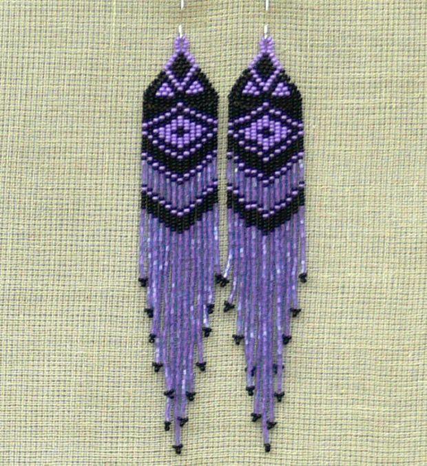 Black and Purple Earrings. Native American Beaded Earrings Inspired. Shoulder Dusters. Extra Long Earrings. Beadwork