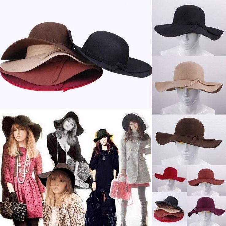 Women soft Floppy Wide Brim Cloche Fedora Beach Hat Goth Wool Bowknot Sun Caps