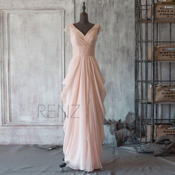 2015 Peach Chiffon Bridesmaid dress, Cap Sleeve Maxi dress, Long Wedding dress, Draped Party dress, V neck Formal dress floor length (F106)