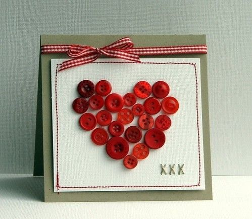 Cute Button Valentine Card