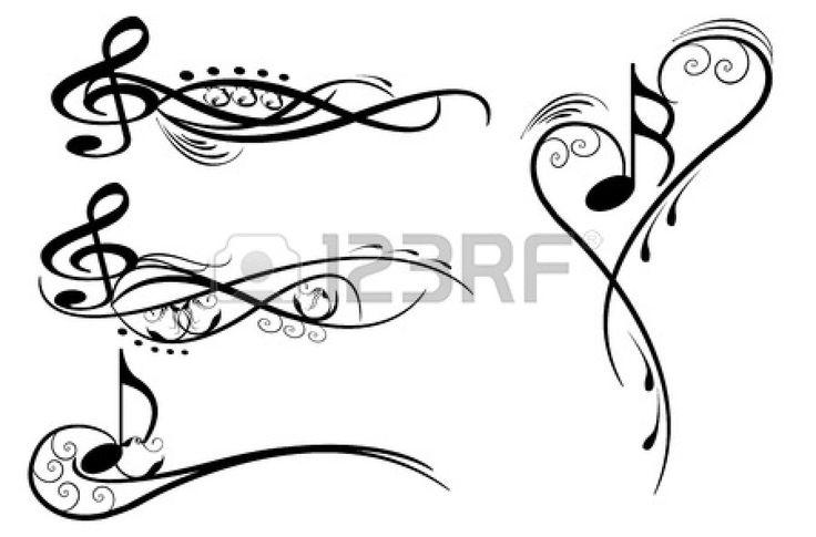 notes de musique éléments de protection wirh floraux Banque d'images