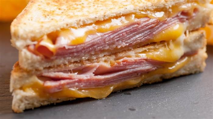 Grilled Ham and Cheese Sandwich ~ Jeff Mauro on The Kitchen.  Aged Cheddar, American and Provolone Cheeses, Thinly sliced Ham, Honey Mustard or Dijon and Mayonnaise.