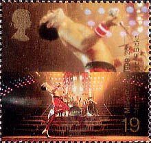 British Stamp 1999 - 19p, Freddie Mercury (lead singer of Queen) ('Popular Music') from Millennium Series. The Entertainers' Tale (1999)