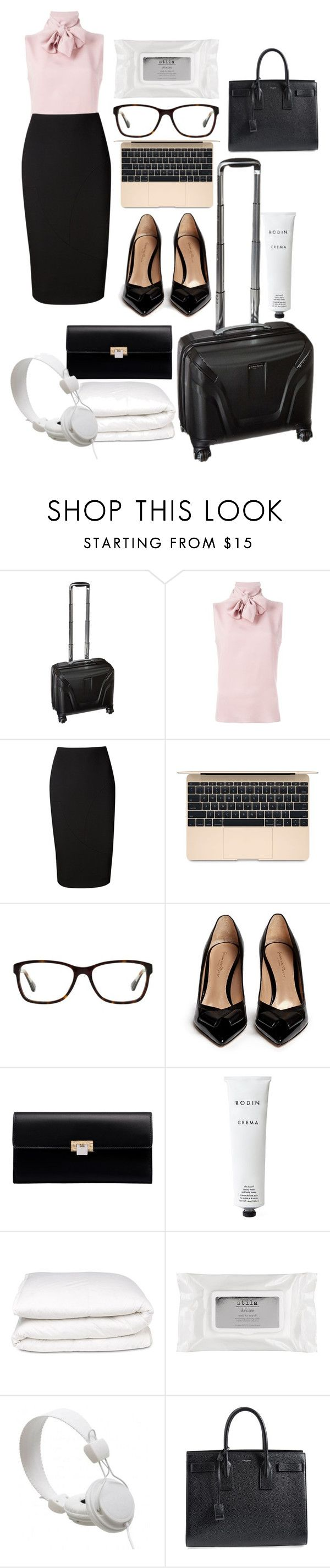 """CCCLXXII"" by absinthemartini ❤ liked on Polyvore featuring Samsonite, Valentino, Victoria Beckham, Coach, Gianvito Rossi, Balenciaga, Rodin Olio Lusso, Selfridges, Stila and WeSC"