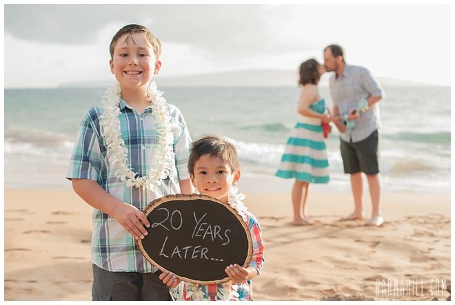 Adorable photo for a Beach Vow Renewal :: Vow Renewals Maui :: Hawaii Vow Renewal Packages