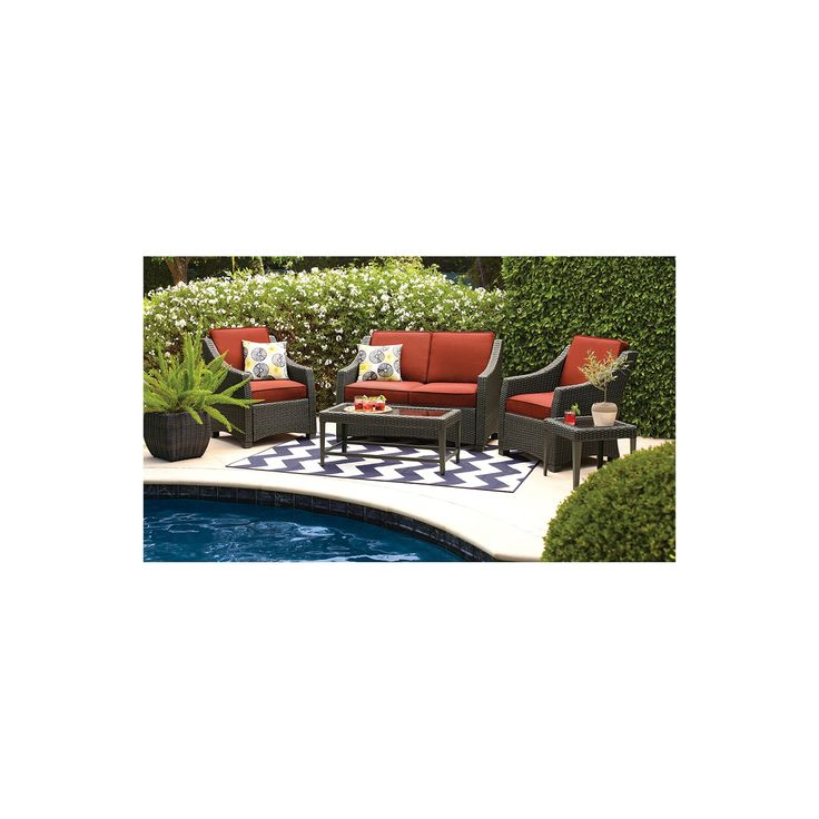 Belvedere 4-Piece Wicker Patio Conversation Set - Threshold, Orange
