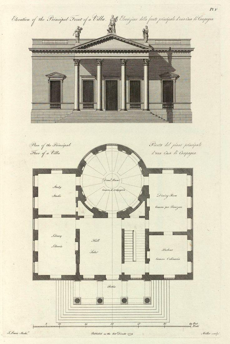 Villa Elevation Plan : Elevation and plan for a villa house building plans