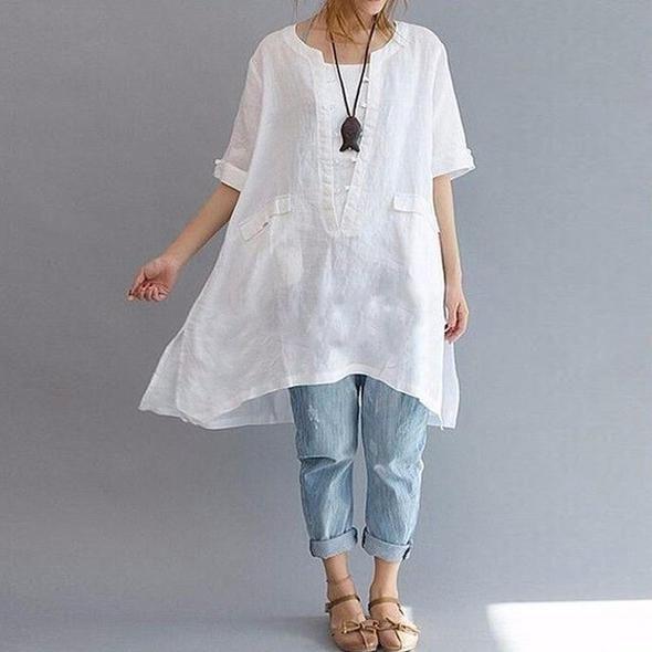 2018 Summer ZANZEA Women Cotton Linen O Neck Short Sleeve Party Baggy Tops Split Hem Solid Blouse Irregular Hem Shirt Plus Size