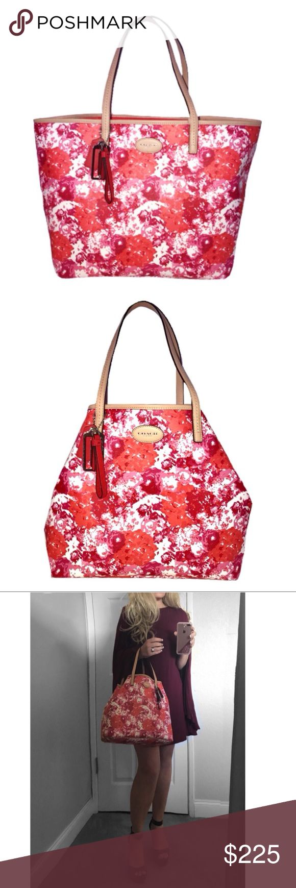 """NWT Coach Metro Floral Print Tote • Spring floral print canvas with leather trim  • Inside zip, cell phone and multifunction pockets  • Handles with 7 3/4"""" drop Keep your spring look classic and sophisticated with this authentic stylish Coach Metro Print Tote. Constructed with the finest material and meticulous craftsmanship, this ultra-fashionable bag helps keep you organized while you look your best. Color: Red/Pink/Orange Floral Print   •Coach Bag Registration No.  #coach #coachbag…"""