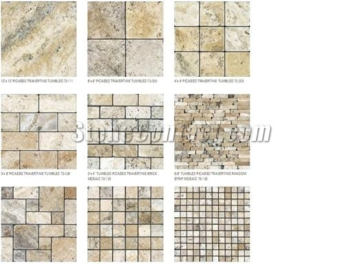 Picasso Tumbled Travertine-France Travertine Tiles,Slabs
