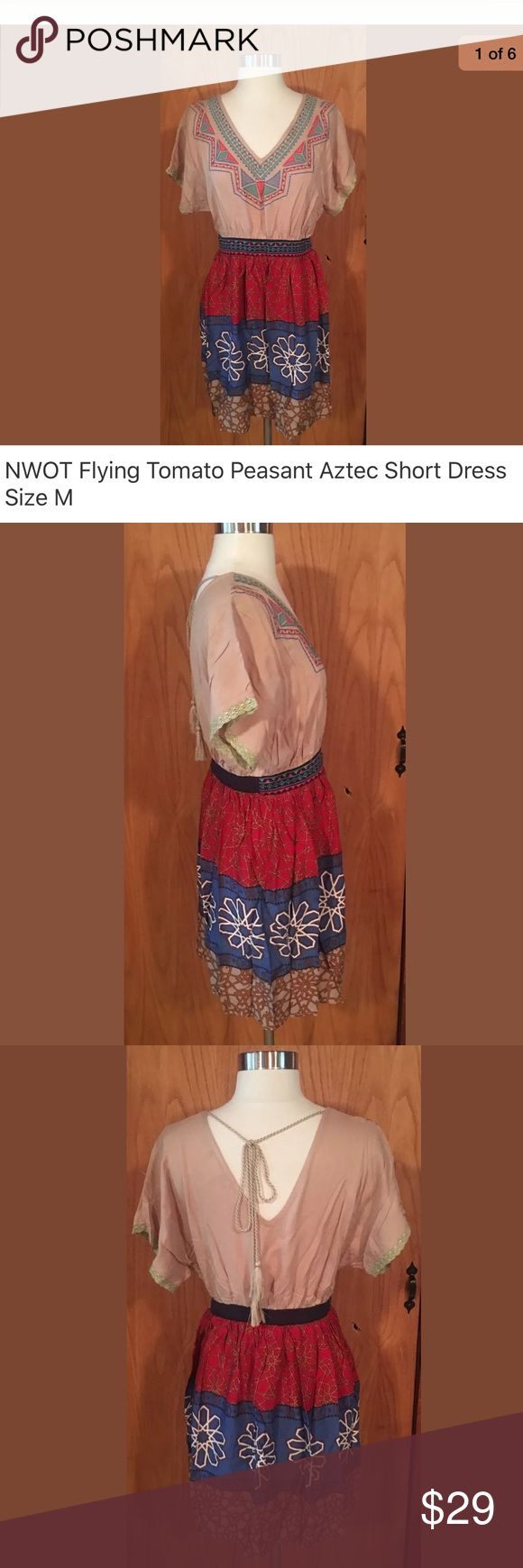 NWOT Flying Tomato Peasant Aztec Short Dress NWOT Flying Tomato Peasant Aztec Short Dress Size M Flying Tomato Dresses