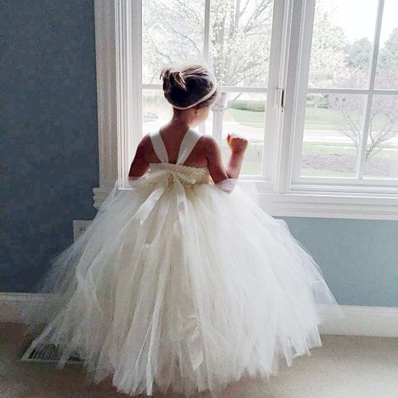 Ivory Flower Girl Dress Tulle Dress Wedding by MagicTulleCouture