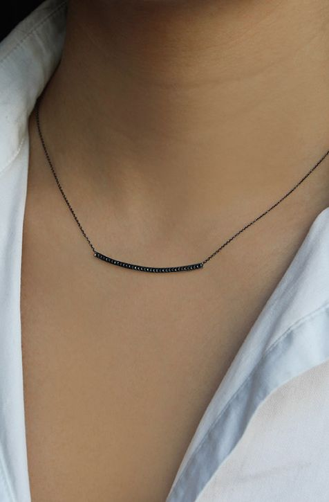 Edge up your style with our Sylvie Rose long bar in black diamonds! #necklace #danarebecca